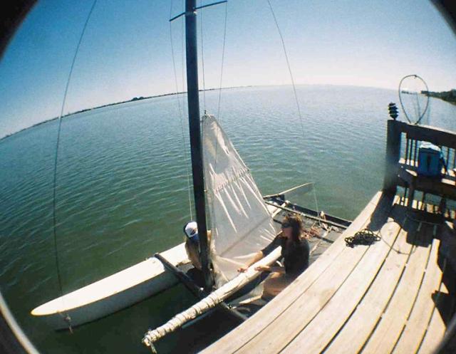 Rigging up my catamaran for a sail on the Banana River