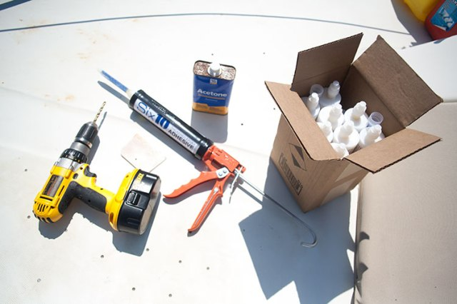 Materials need; 610 Epoxy Cartridges, Caulking Gun, Drill, Squeegee, Acetone