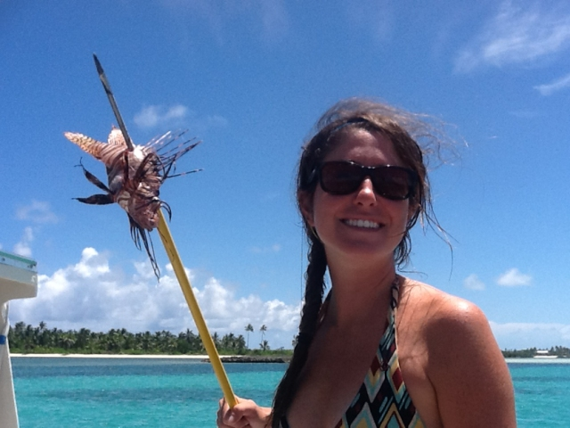 Jam helping out with the Lion Fish invasion